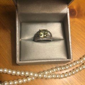 Sterling silver lemon quartz & white sapphire ring